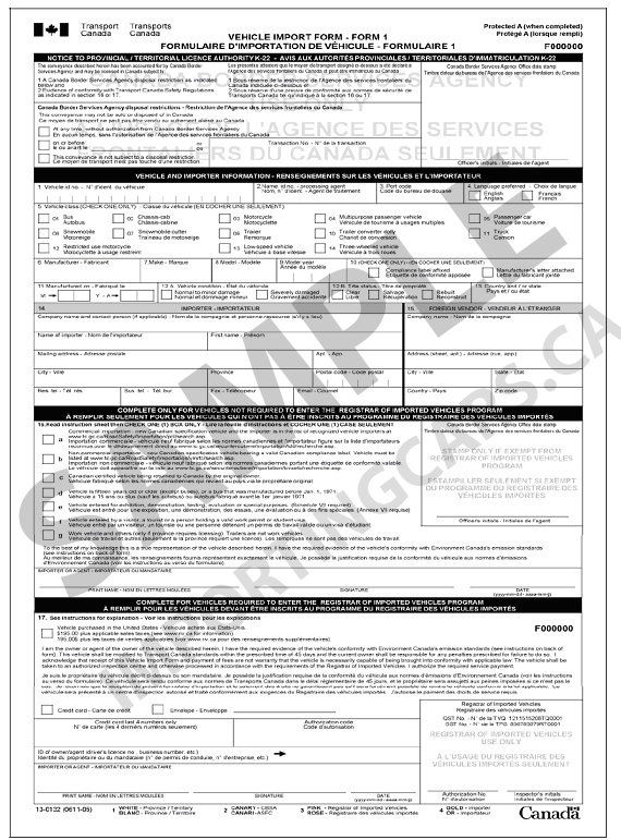 ImportingCars.ca - What is the Form 1?